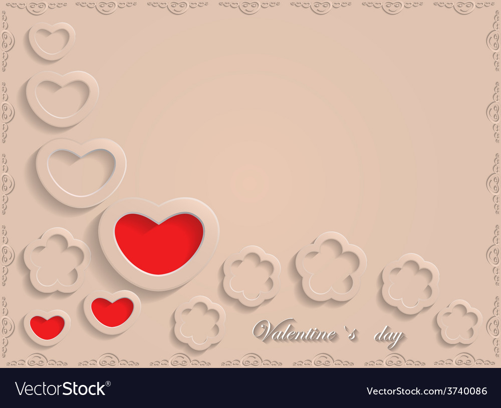 Card for valentine day on a beige background vector | Price: 1 Credit (USD $1)
