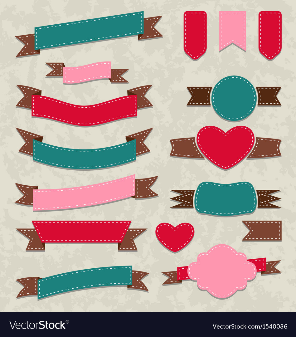 Collection ribbons vintage labels geometric vector | Price: 1 Credit (USD $1)