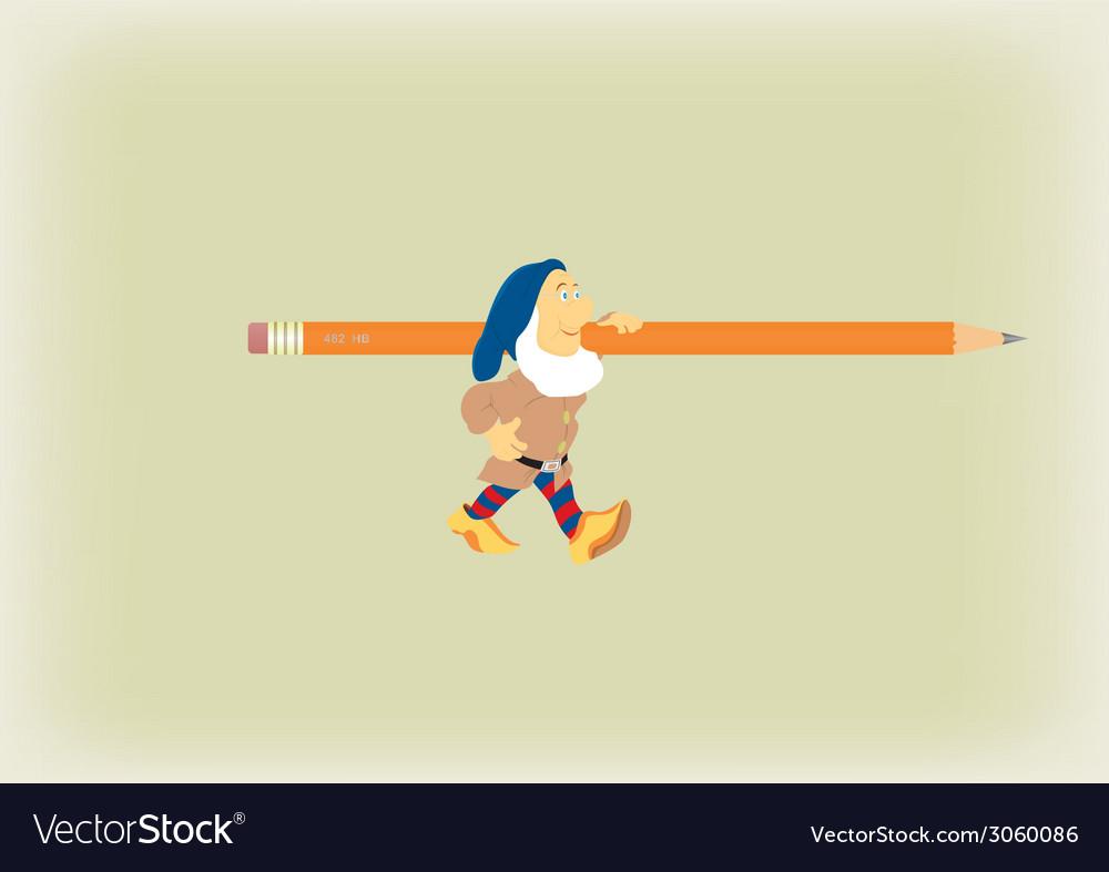 The fantastic gnome which bearsa pencil vector | Price: 1 Credit (USD $1)