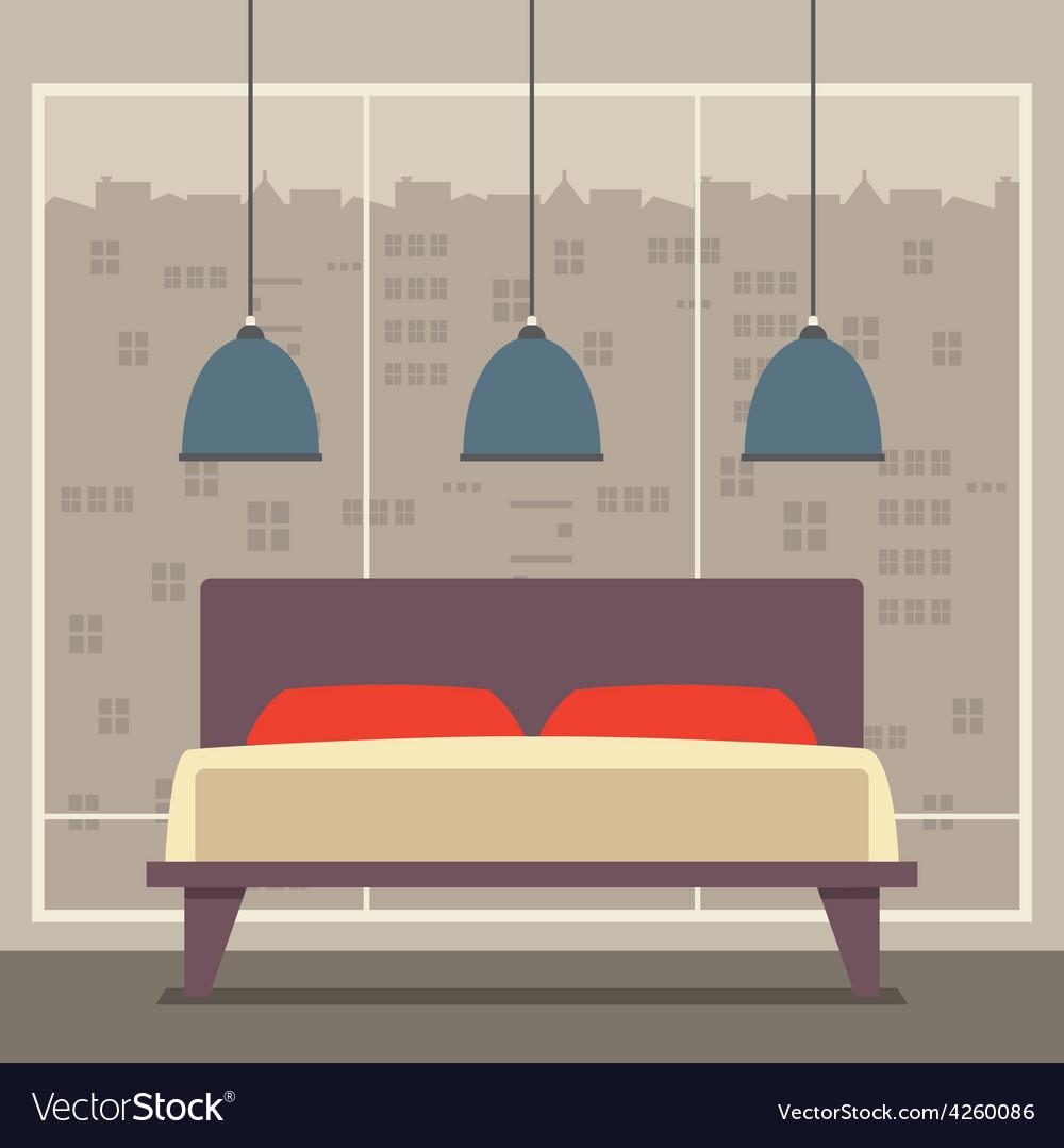 Flat design double bedroom vector | Price: 1 Credit (USD $1)