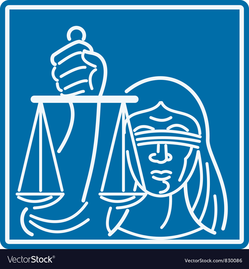 Lady blindfolded holding scales of justice vector | Price: 1 Credit (USD $1)