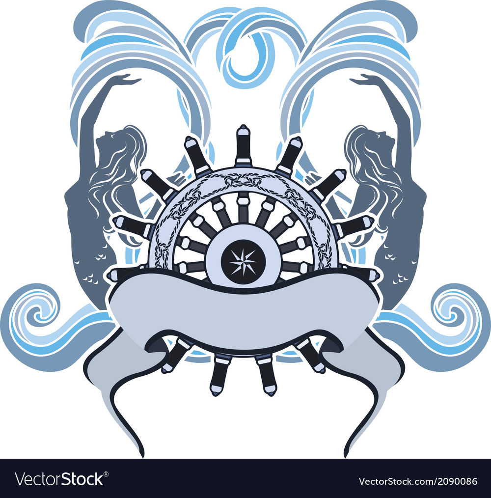 Marine emblem wheel and mermaid vector | Price: 1 Credit (USD $1)