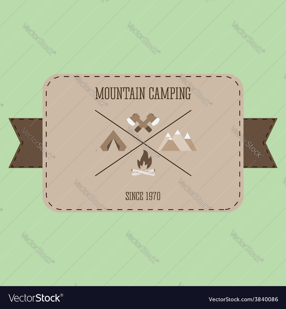 Mountain camping adventure badge graphic design vector | Price: 1 Credit (USD $1)