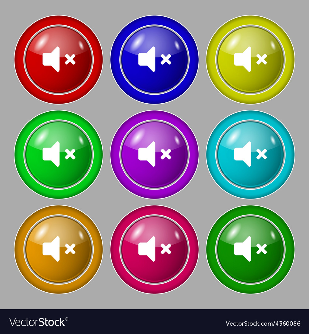 Mute speaker sound icon sign symbol on nine round vector | Price: 1 Credit (USD $1)