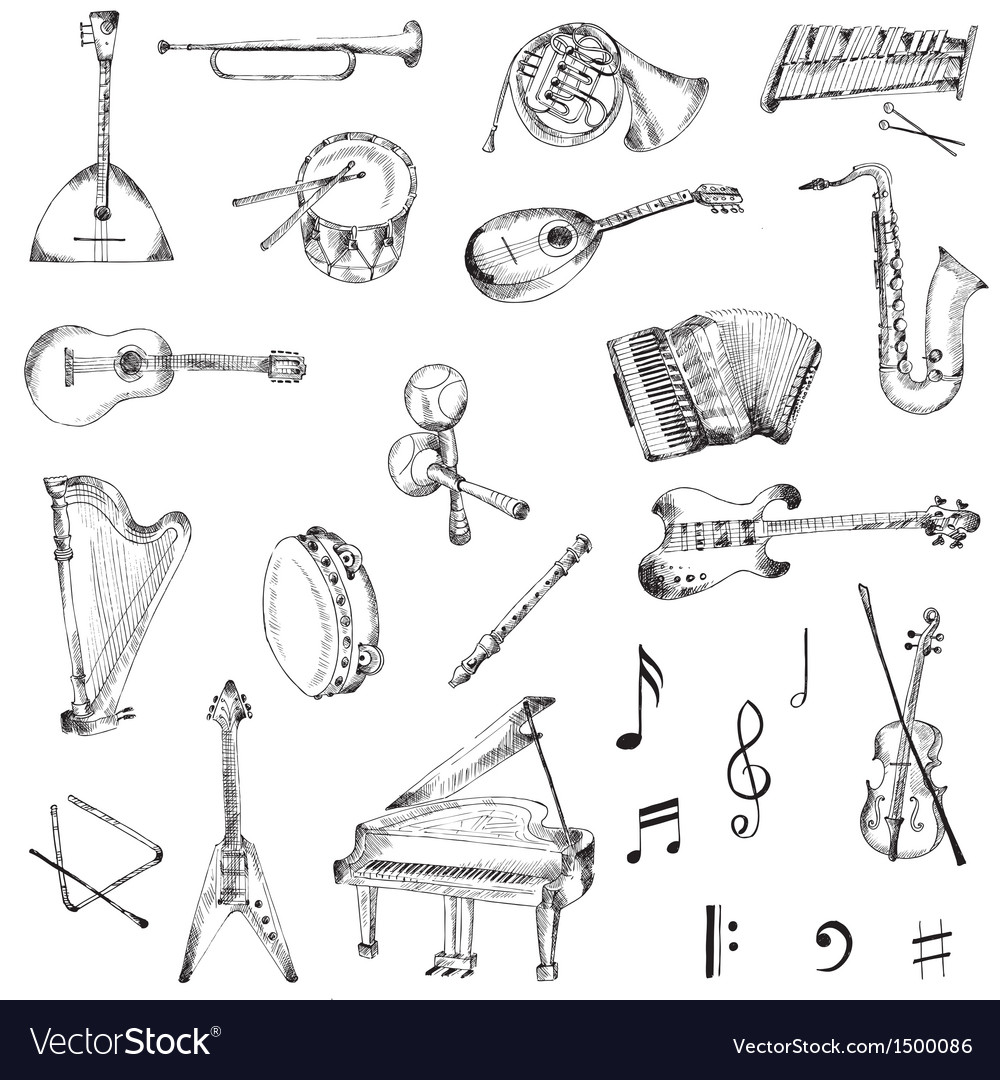 Set of music instruments vector | Price: 3 Credit (USD $3)