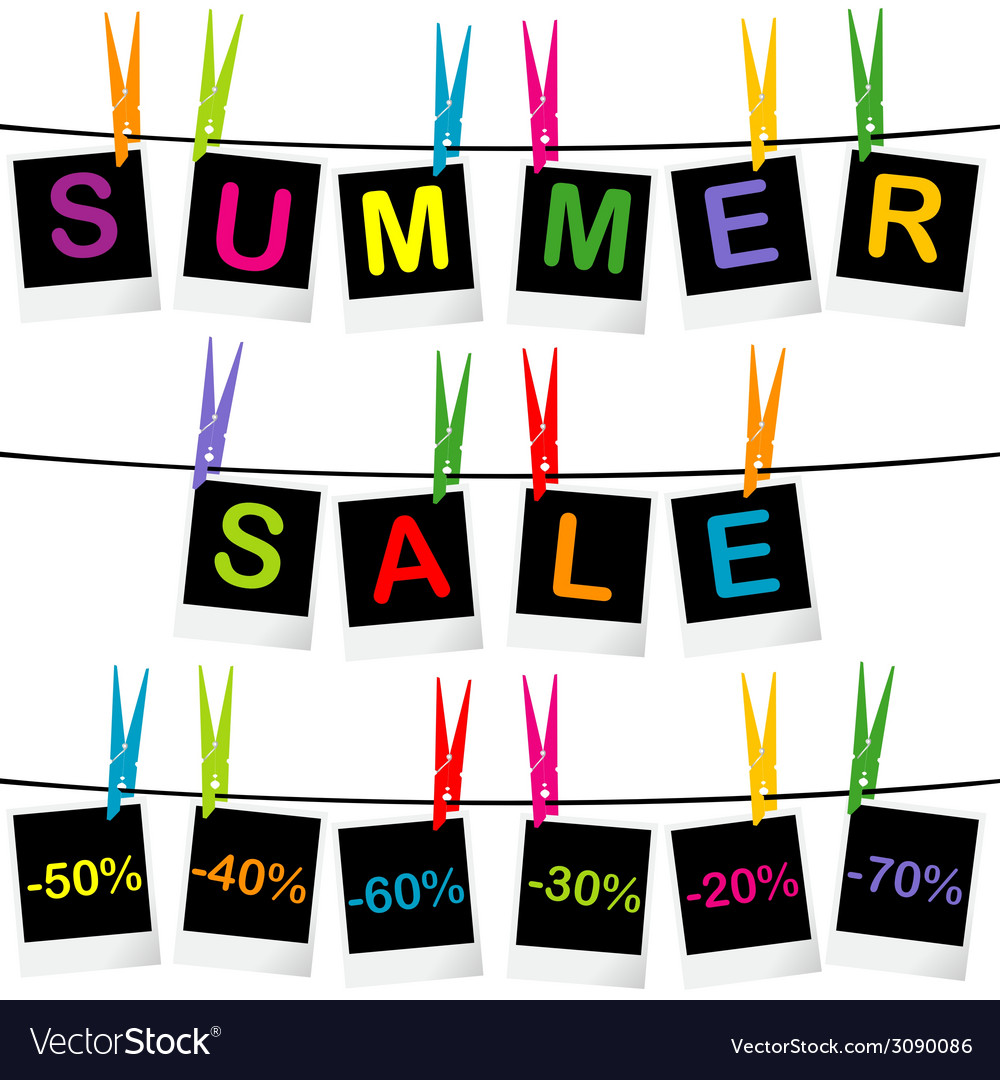 Summer sale concept with photo frames hanging on vector | Price: 1 Credit (USD $1)
