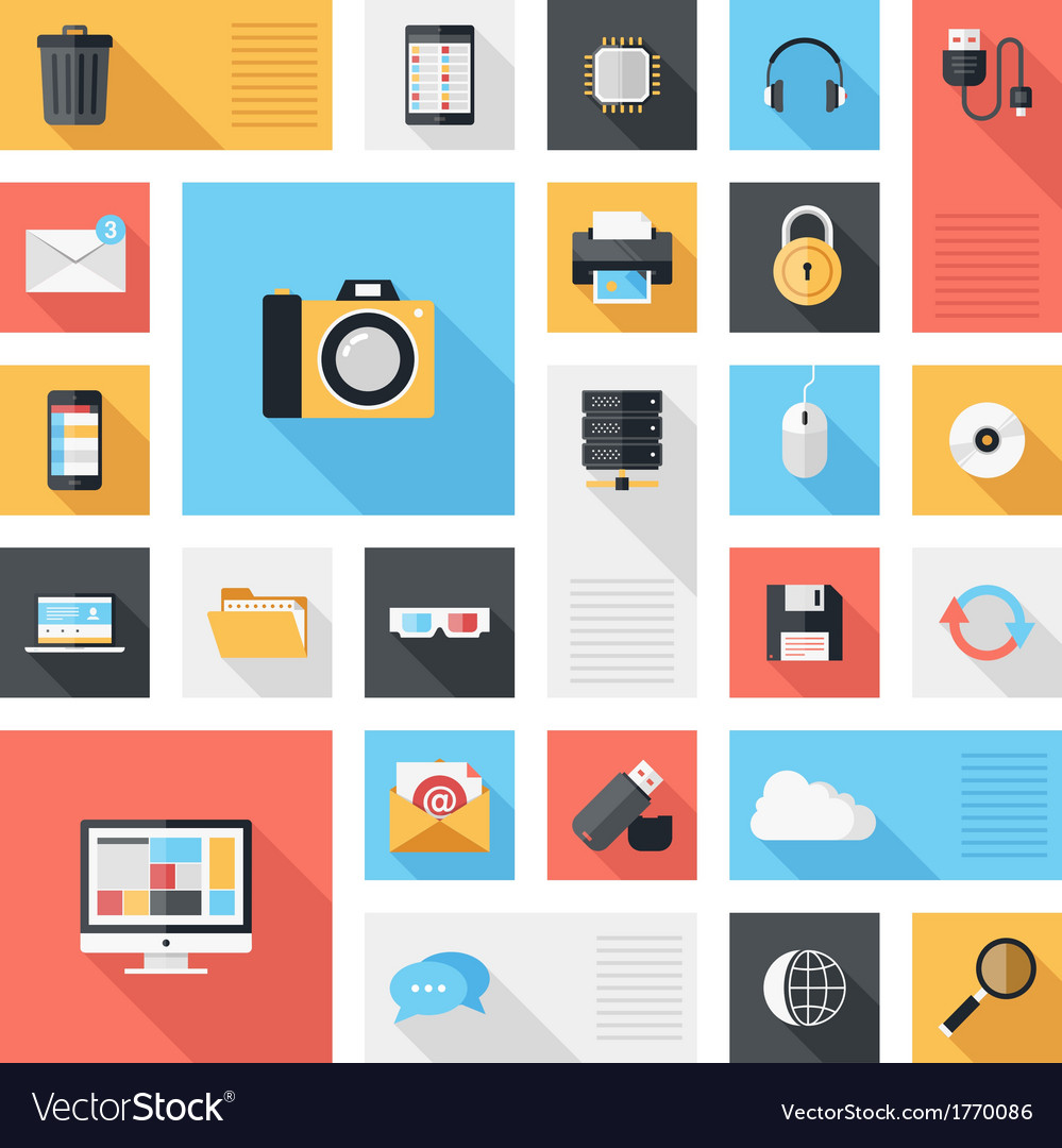 Technology and media icons vector | Price: 1 Credit (USD $1)