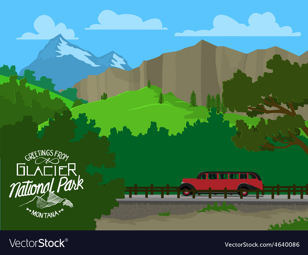 Touring glacier national park vector | Price: 3 Credit (USD $3)