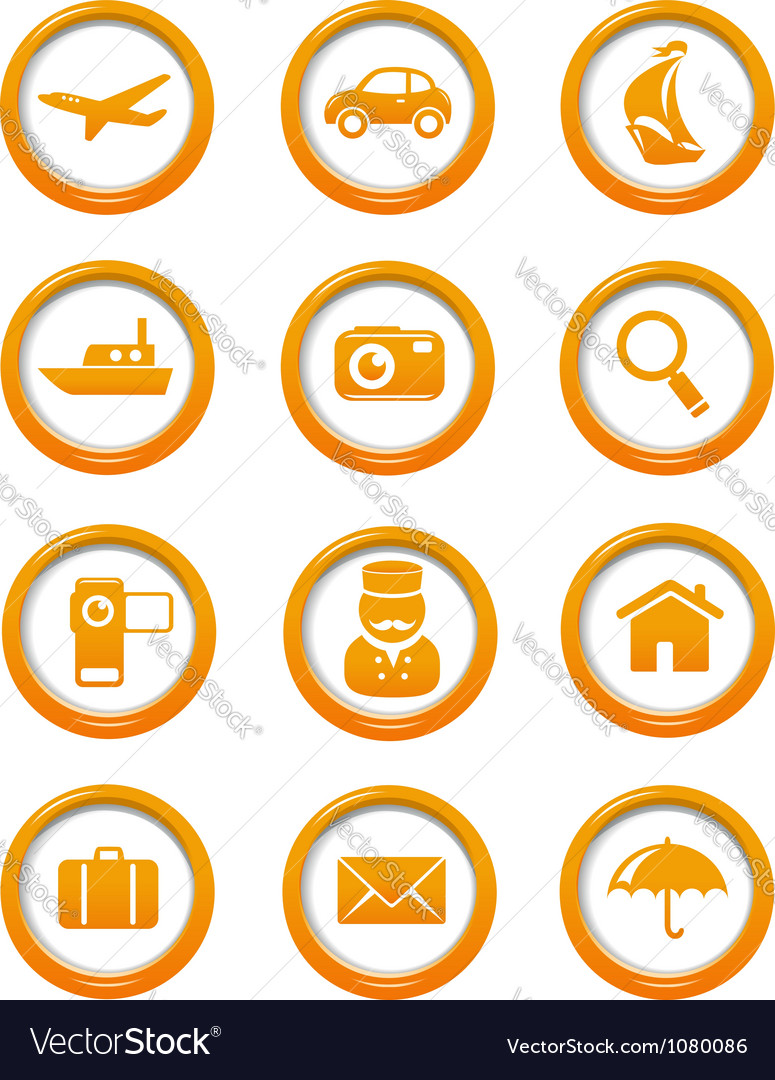 Travel and transportation web buttons set vector | Price: 1 Credit (USD $1)