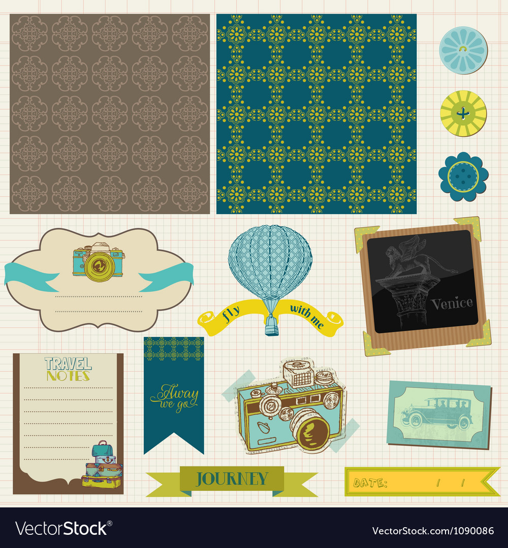 Travel set of retro design elements vector | Price: 3 Credit (USD $3)