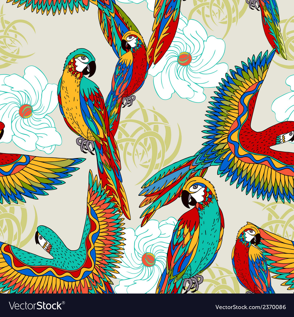 Vintage colorful background with parrots vector | Price: 1 Credit (USD $1)