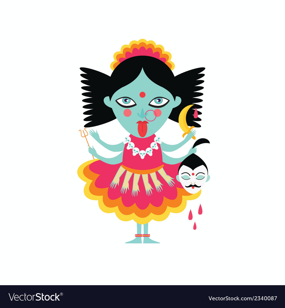 Abstract hindu goddess kali religion cult india vector | Price: 1 Credit (USD $1)