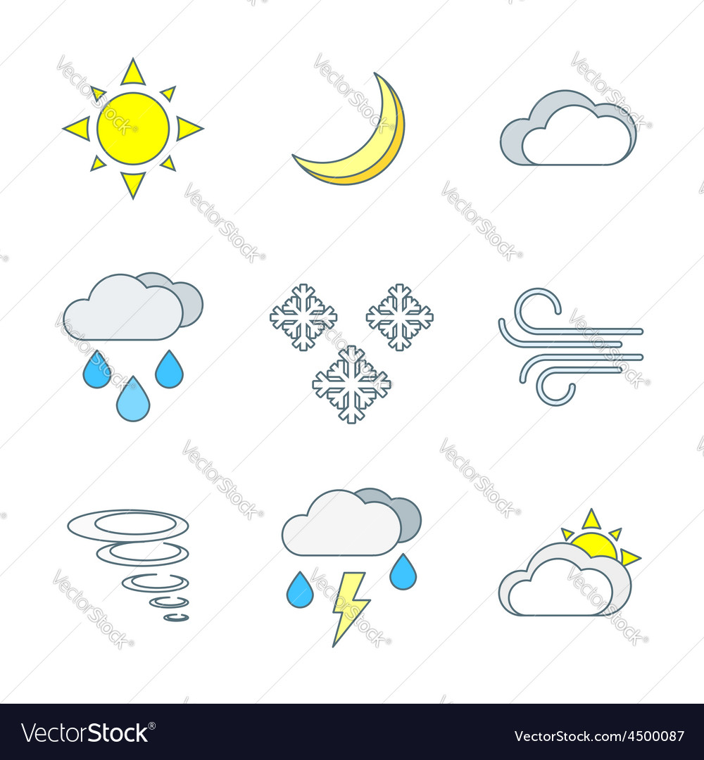 Colored outline weather forecast icons set vector   Price: 1 Credit (USD $1)