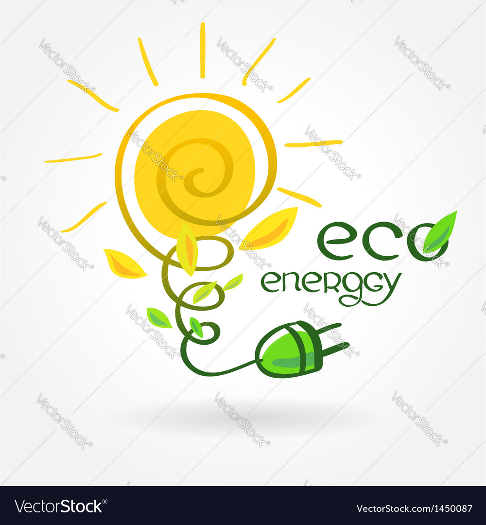 Eco energy solar sun alternative power vector | Price: 1 Credit (USD $1)