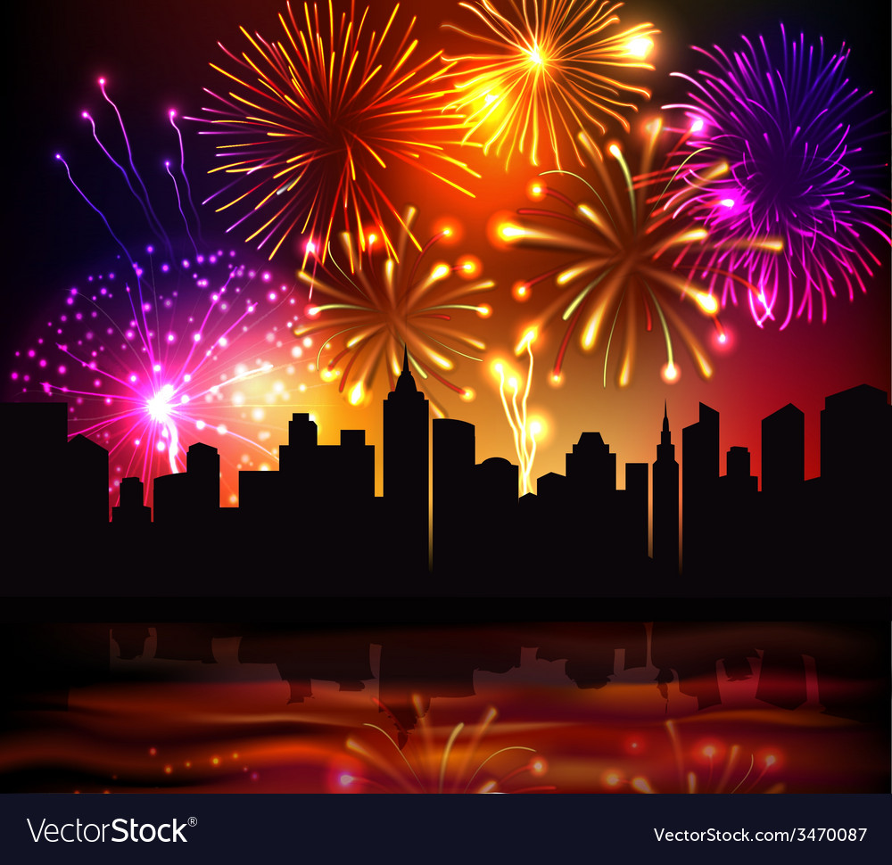 Fireworks city background vector | Price: 1 Credit (USD $1)
