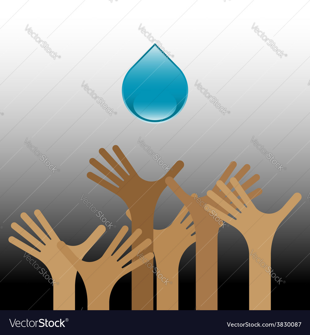 Group of raised hands with water vector | Price: 1 Credit (USD $1)