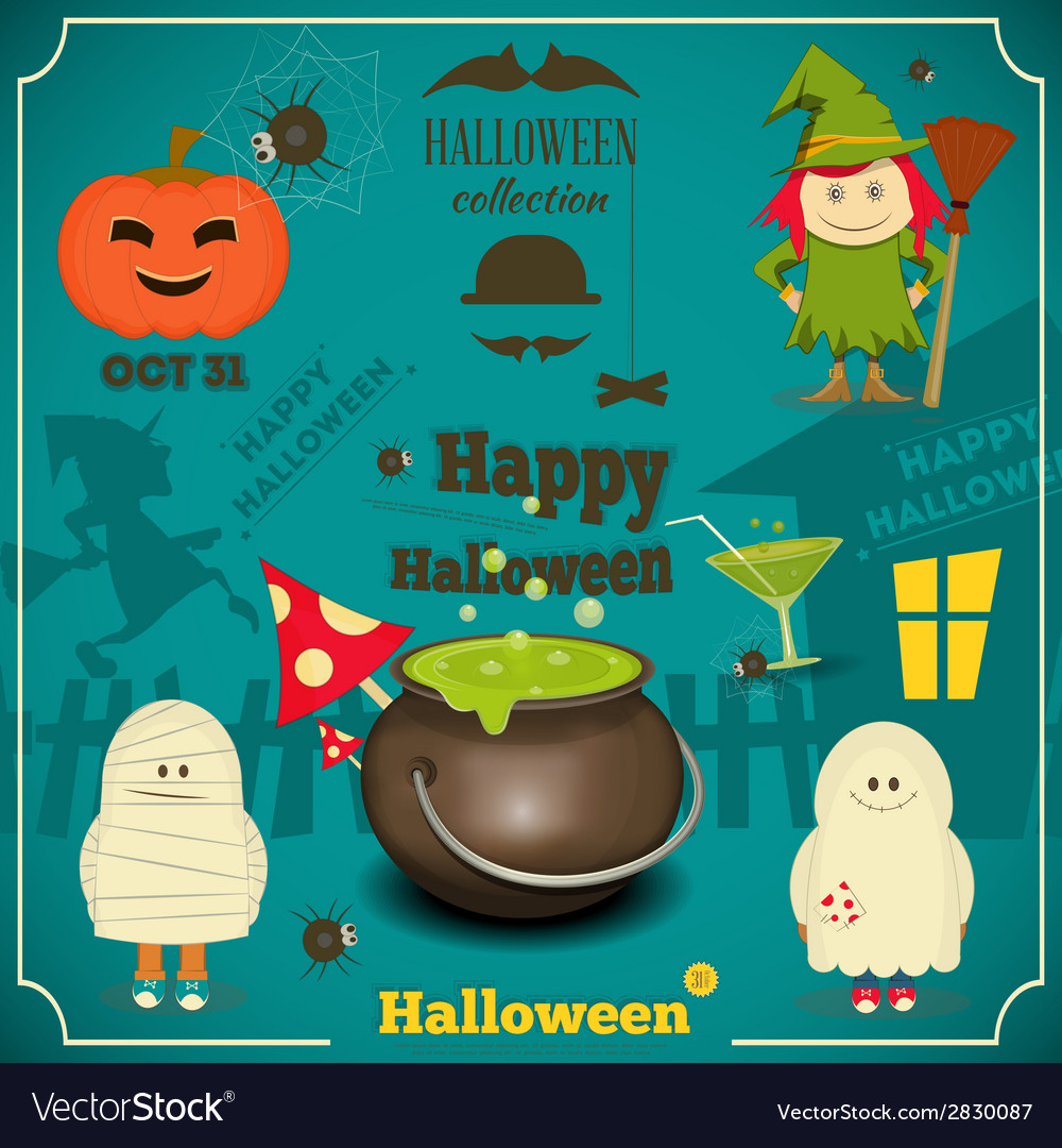 Halloween card blue vector | Price: 1 Credit (USD $1)