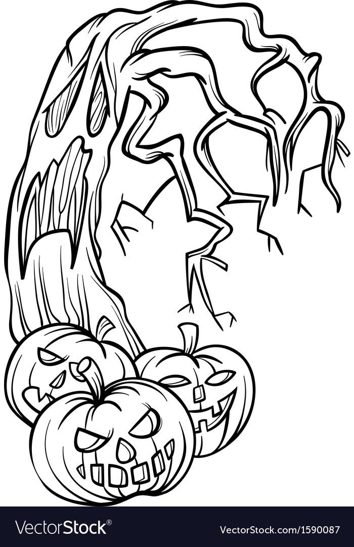 Halloween pumpkins with tree cartoon vector | Price: 1 Credit (USD $1)