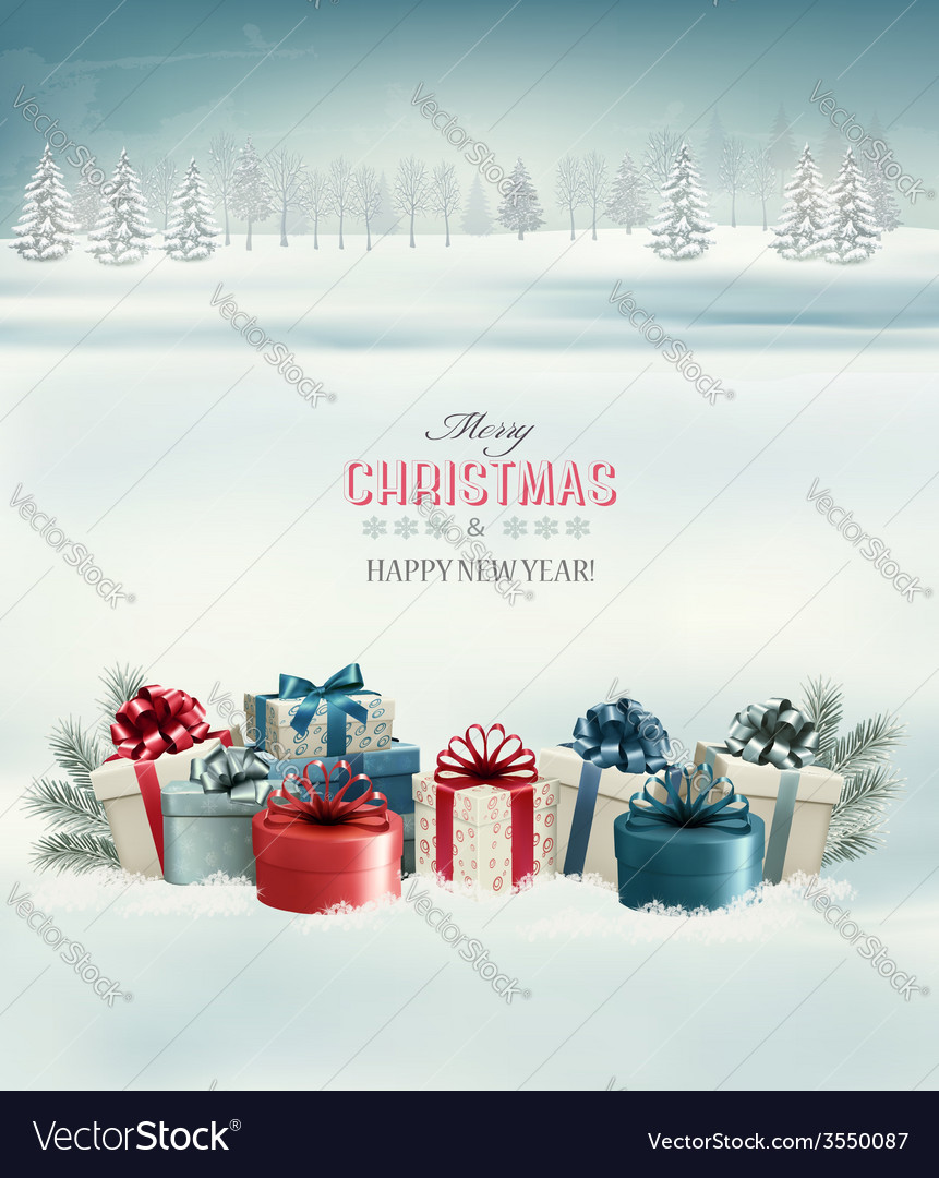 Holiday christmas background with gift boxes vector | Price: 3 Credit (USD $3)