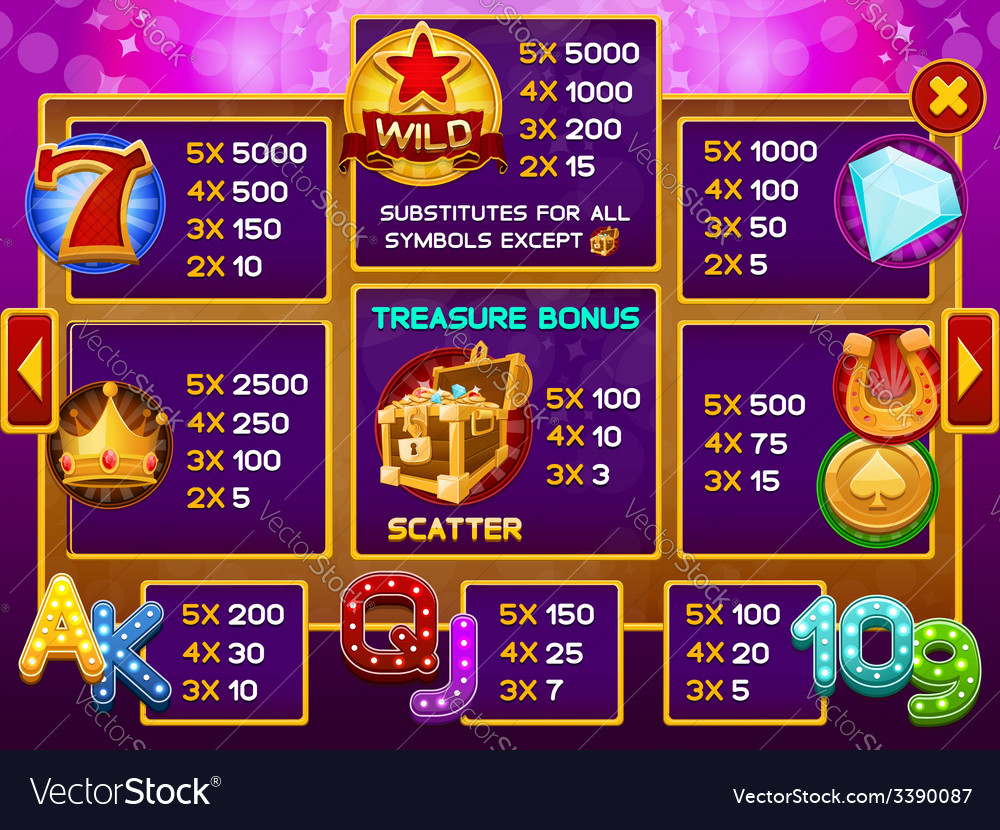 Info screen for slots game vector   Price: 3 Credit (USD $3)