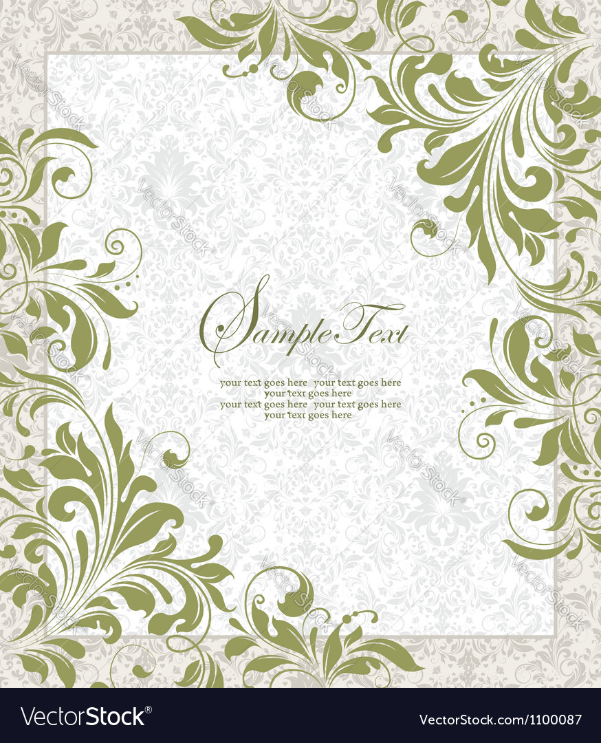 Invitation vintage card with floral ornament vector   Price: 1 Credit (USD $1)