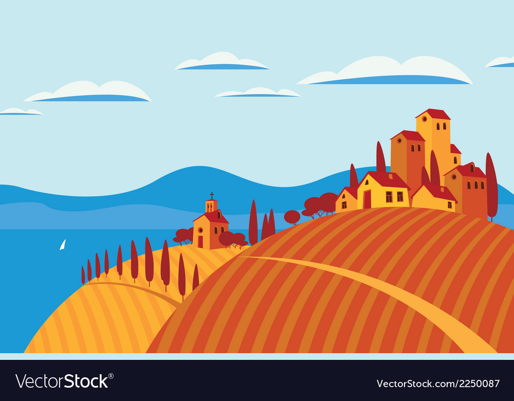 Landscape italy vector | Price: 1 Credit (USD $1)
