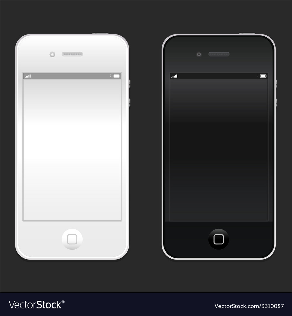 New realistic black and white mobile phone vector | Price: 1 Credit (USD $1)