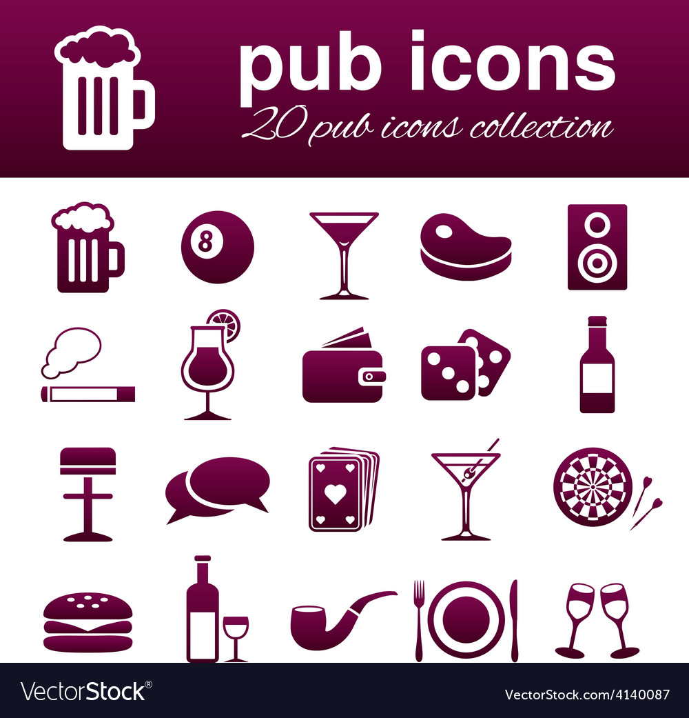 Pub icons vector | Price: 1 Credit (USD $1)