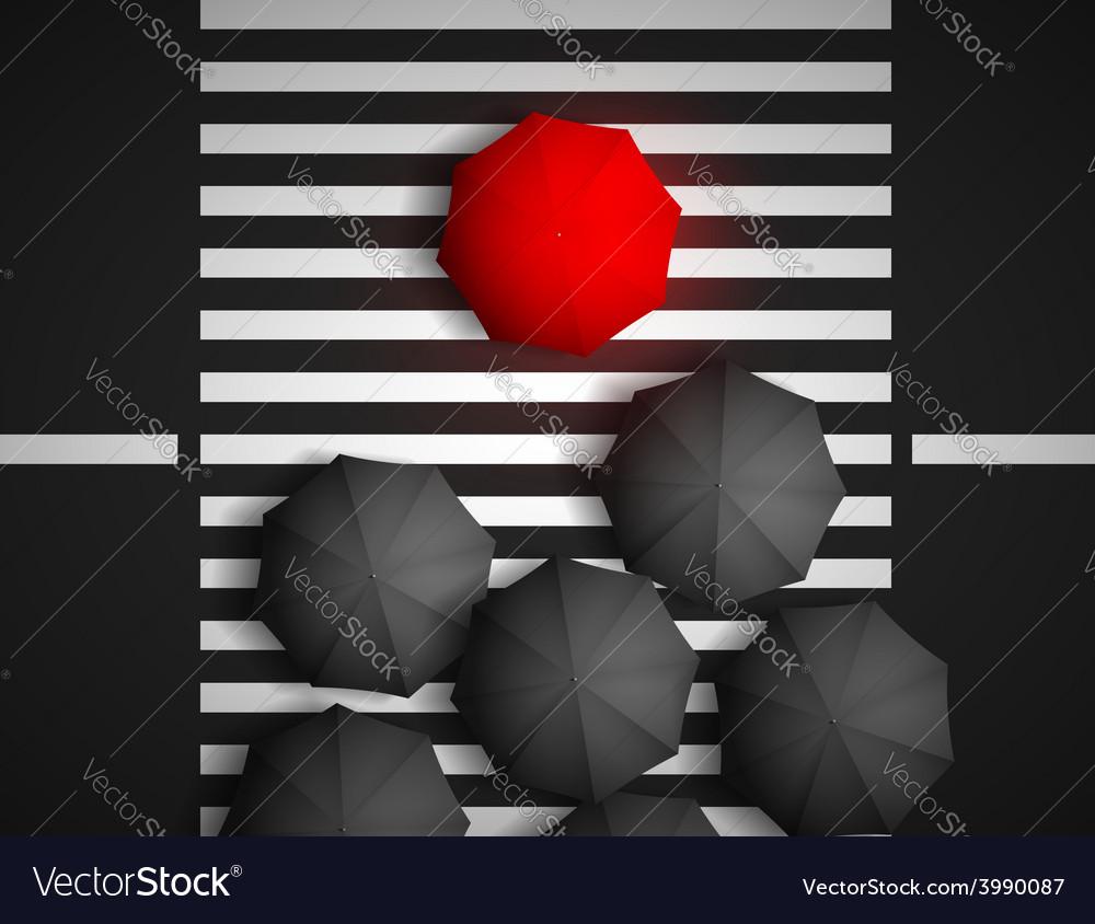 Red umbrella and black umbrellas on a background vector | Price: 1 Credit (USD $1)