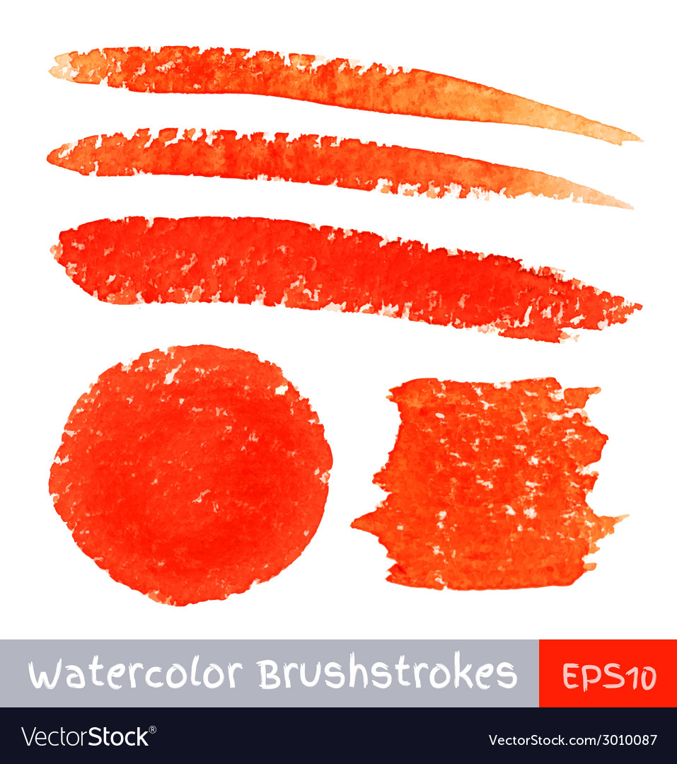 Set of red watercolor brush strokes vector | Price: 1 Credit (USD $1)