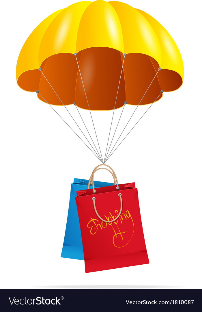 Yellow parachute with shopping bag vector | Price: 1 Credit (USD $1)