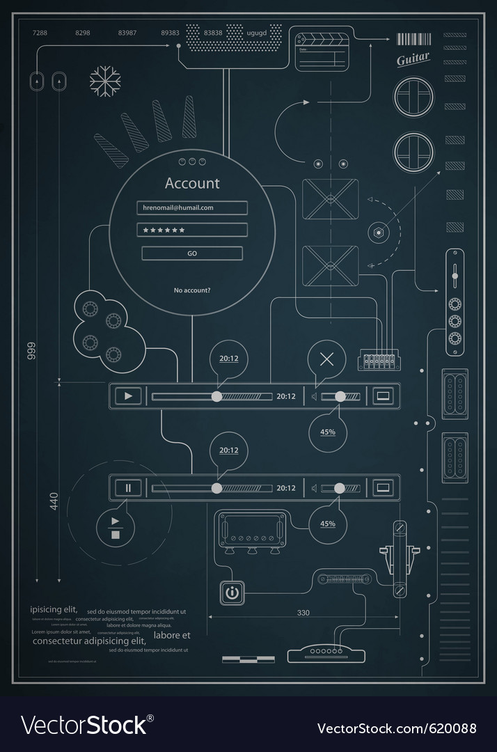 Blueprint infographics drawing a schematic abstrac vector | Price: 1 Credit (USD $1)