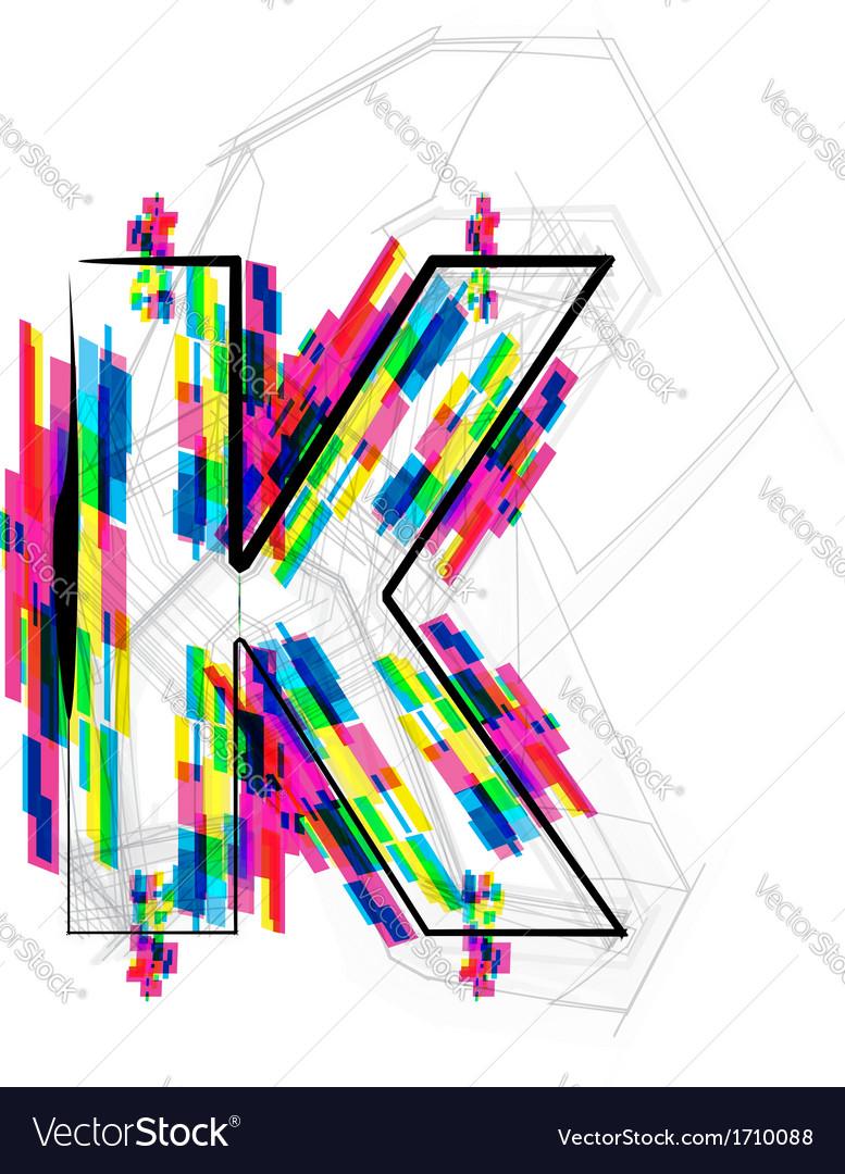 Colorful font letter k vector | Price: 1 Credit (USD $1)