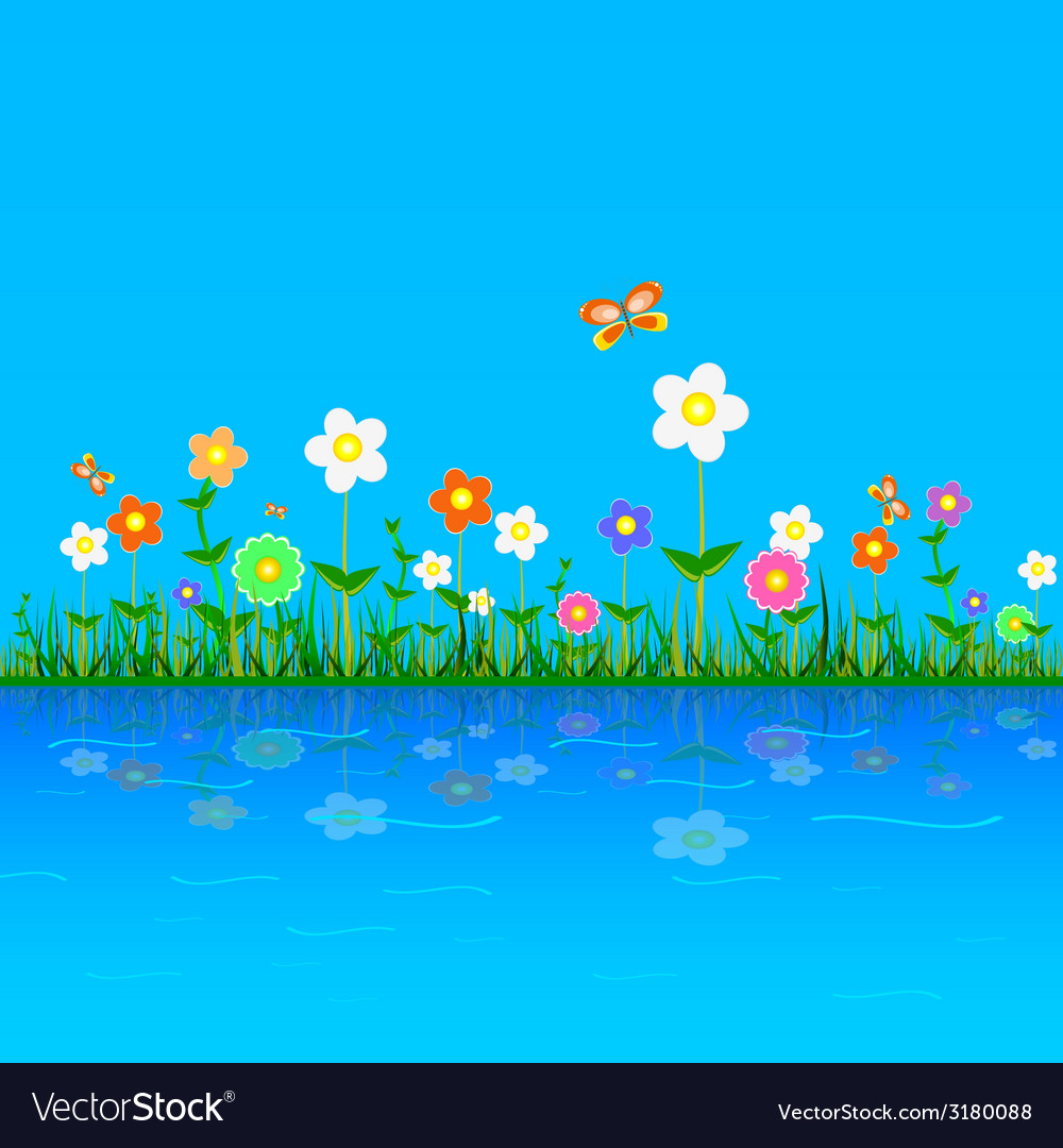 Flower on a blue vector | Price: 1 Credit (USD $1)