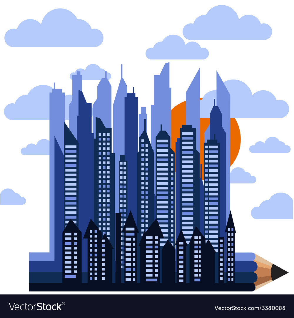 Futuristic city on pencil in clouds with sun vector | Price: 1 Credit (USD $1)