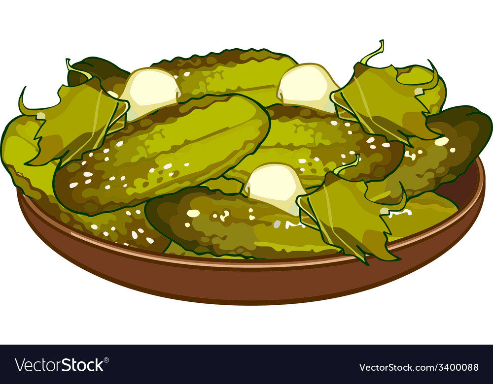 Pickled cucumbers on a platter vector | Price: 1 Credit (USD $1)