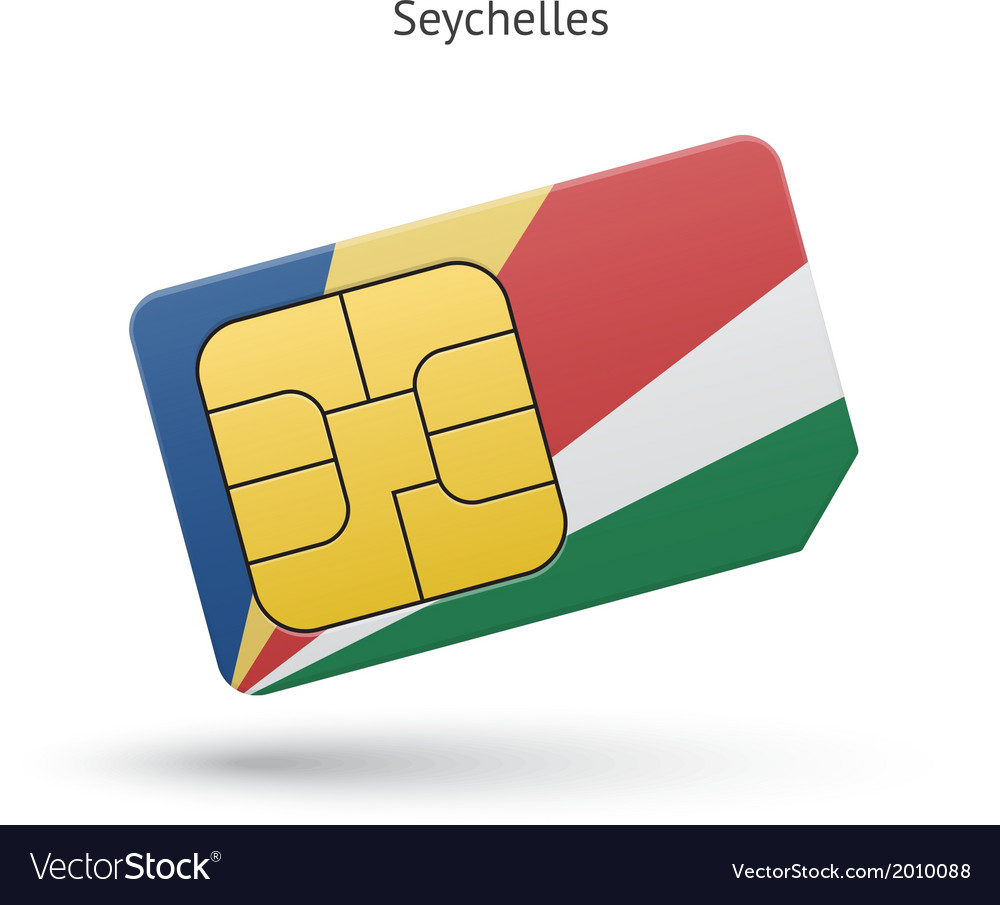 Seychelles mobile phone sim card with flag vector | Price: 1 Credit (USD $1)
