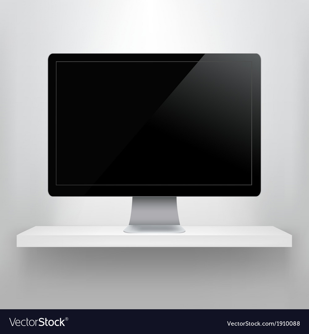 Shelf with computer vector | Price: 1 Credit (USD $1)