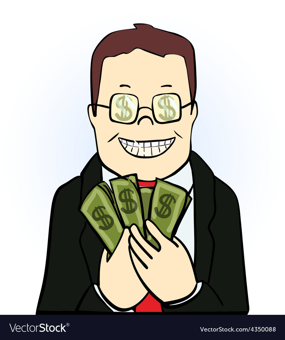 Smiling man in suit and glasses holding dollars vector | Price: 1 Credit (USD $1)