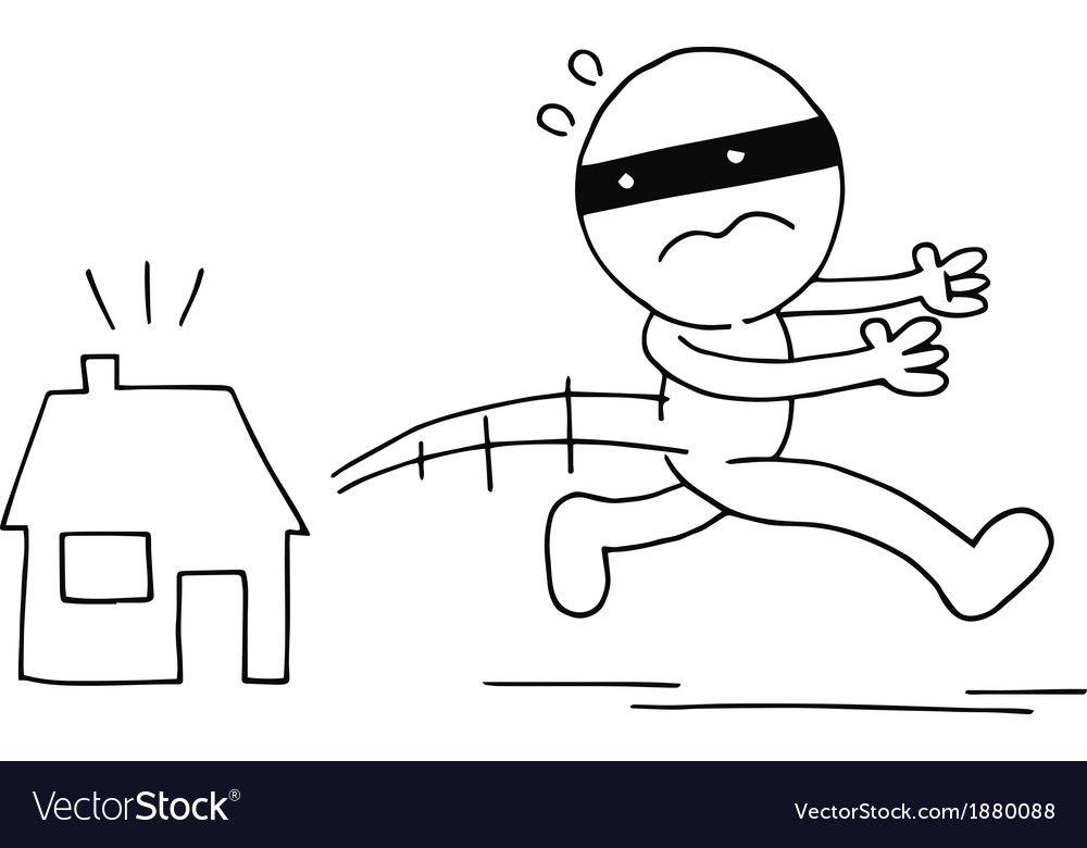 Thief running away vector | Price: 1 Credit (USD $1)