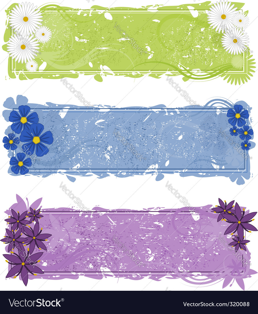 Three grunge floral banners vector | Price: 1 Credit (USD $1)