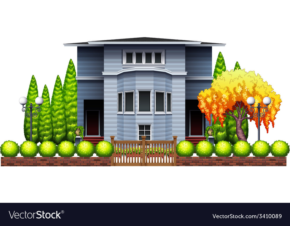 A big house with fence and plants vector | Price: 3 Credit (USD $3)