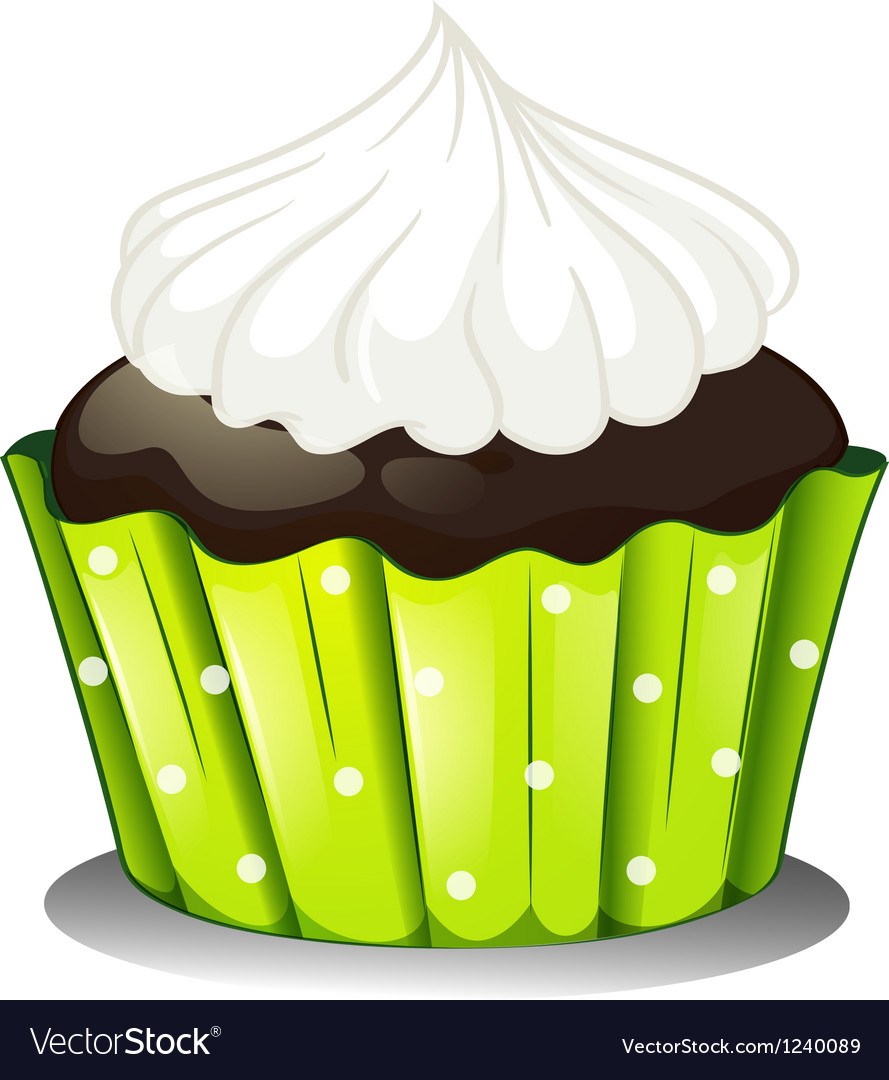 A chocolate cupcake with an icing vector | Price: 1 Credit (USD $1)