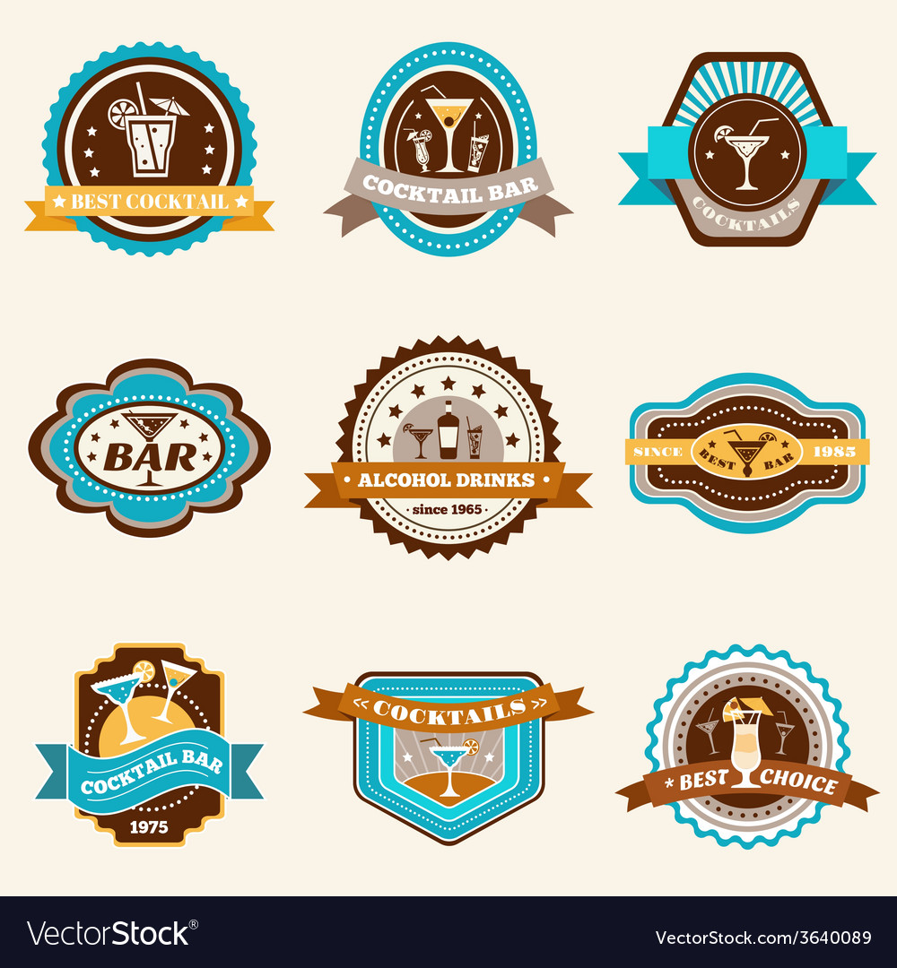 Alcohol cocktails label set vector | Price: 1 Credit (USD $1)