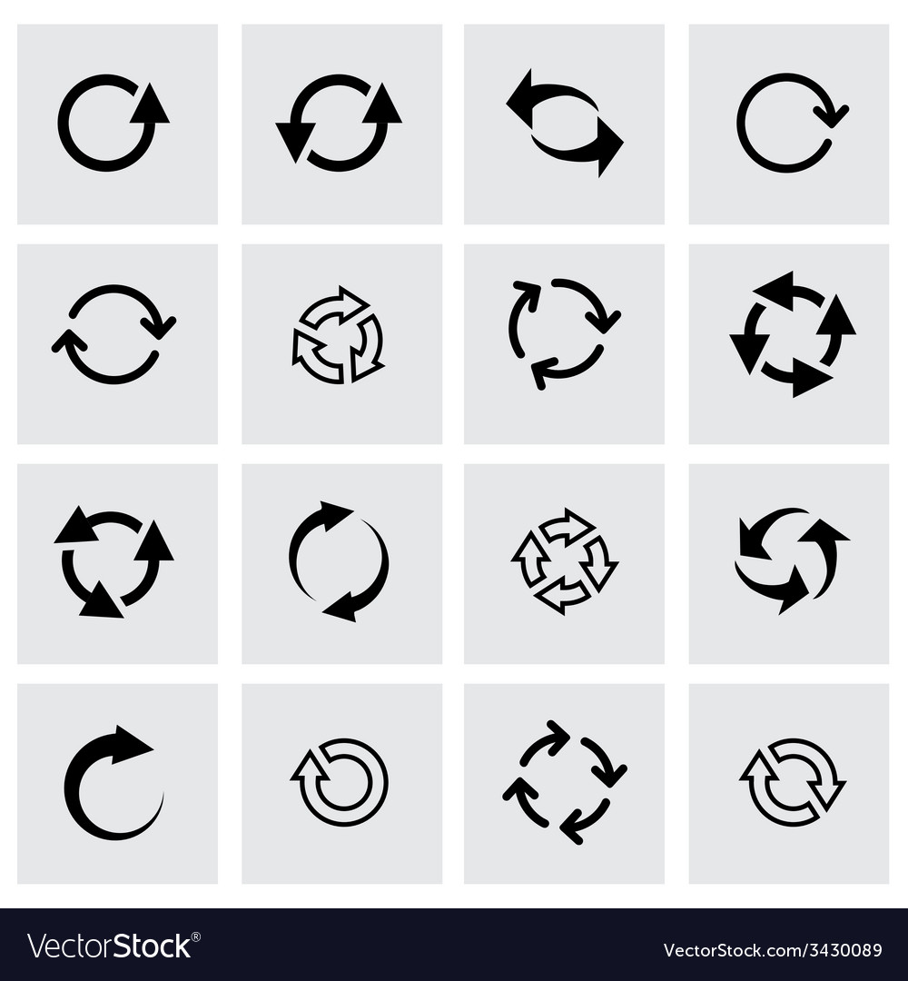 Black refresh icon set vector | Price: 1 Credit (USD $1)
