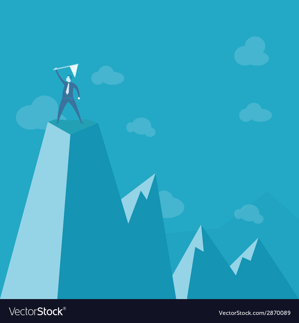 Businessman standing on peak mountain vector | Price: 1 Credit (USD $1)