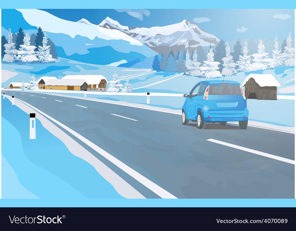 Car travel in alps vector | Price: 3 Credit (USD $3)