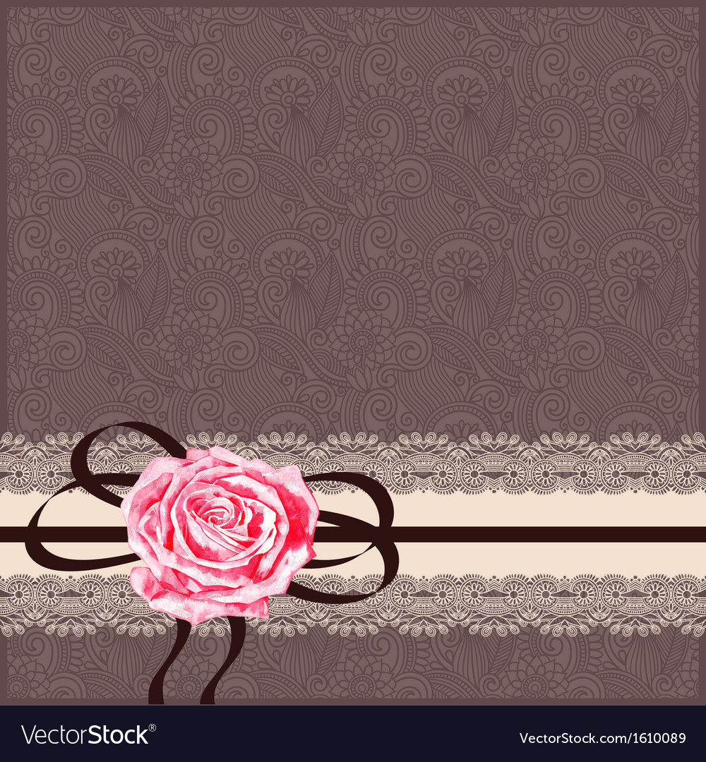 Card pattern with napkin ribbon and rose vector | Price: 1 Credit (USD $1)
