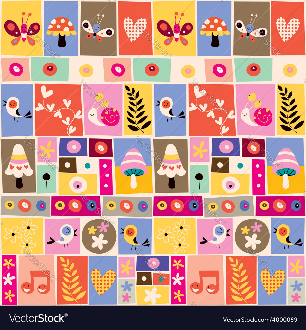 Cute flowers birds mushrooms snails collage vector | Price: 1 Credit (USD $1)