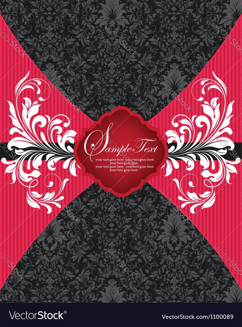 Floral damask invitation card vector | Price: 1 Credit (USD $1)
